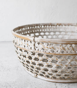 Whitewashed Bamboo Low Basket / No Handles