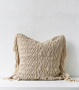 Crochet Cushion 65x65cm Natural Indie Home Collective