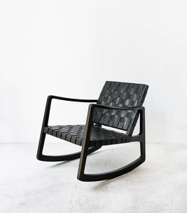 Rocking Chair / Leather & Wood / Black