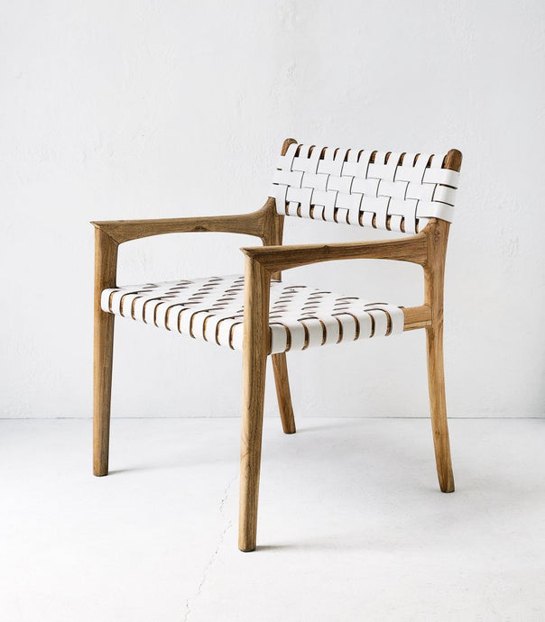 Wooden Armchair / White Leather