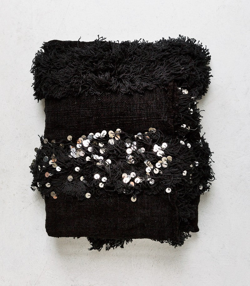 Moroccan Sequin Blanket / Black