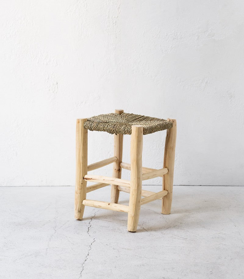 Moroccan Citrus Wood & Rush Reed Stool / Tall