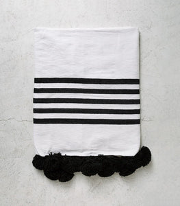Moroccan Cotton Throw-Blanket / White & Blk 5 Stripe / 1.5 x 2.5m