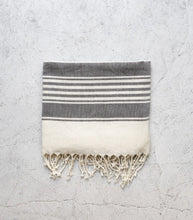 Thick Stripe Turkish Towel / Black-Natural