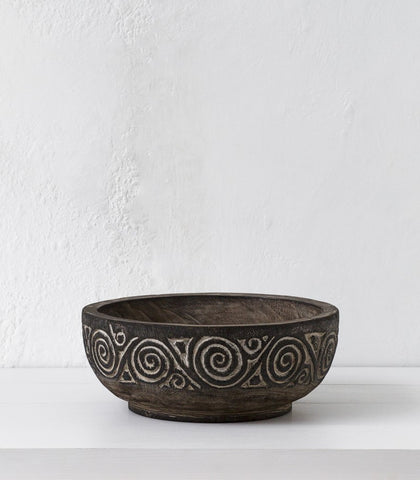 Tribal Teak Bowl 30D x 12H