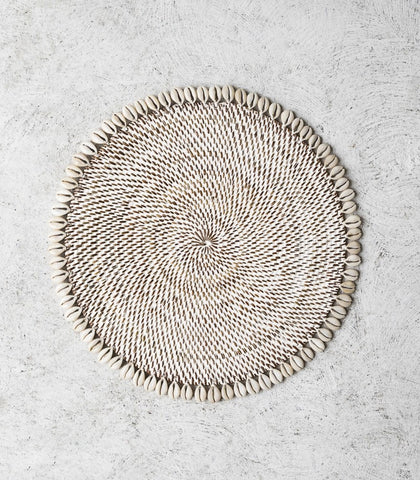 Lombok Placemat w Shell Whitewash 30cm