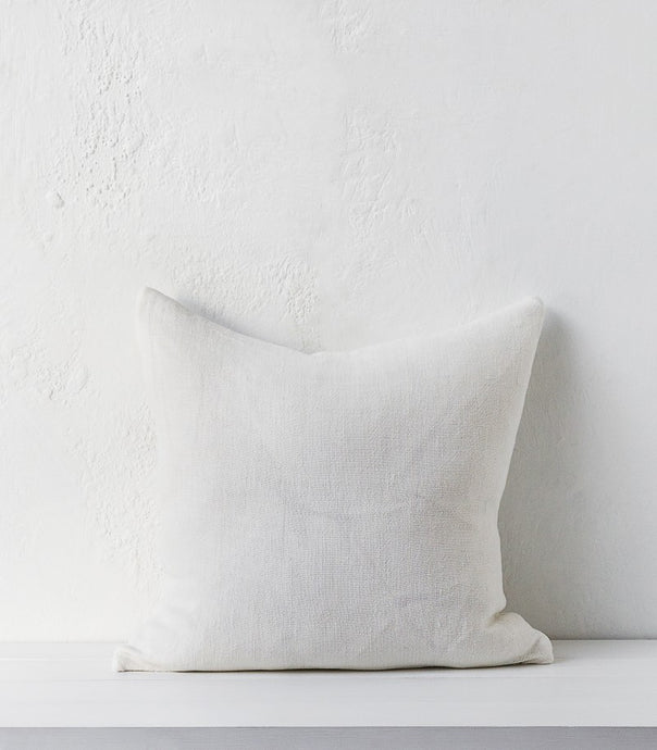 Heavy Linen Cushion Ivory / w Feather Inner 55x55cm