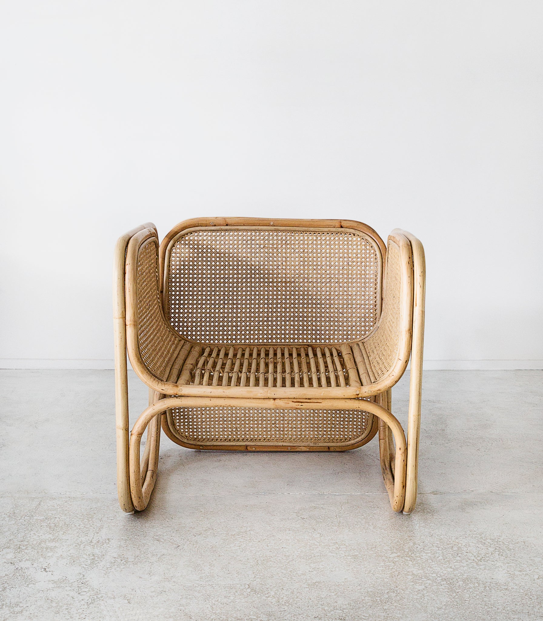 Woven rattan bamboo lounging chair
