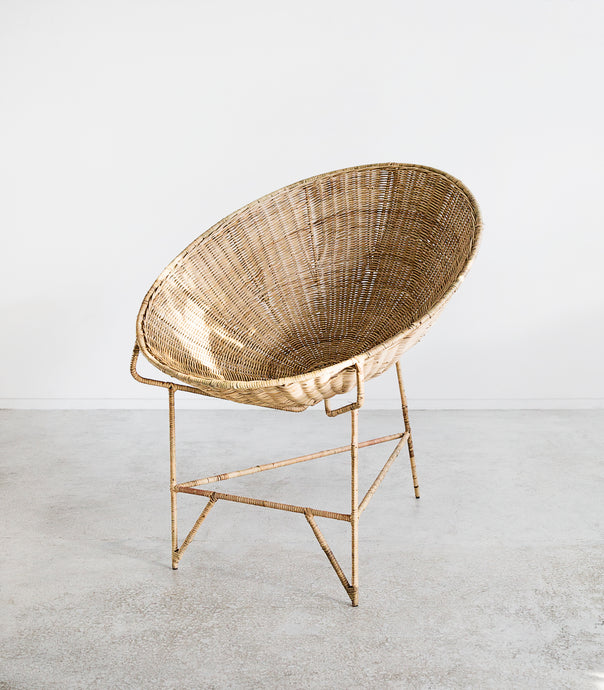 Rattan Weave Lounging Chair / Metal Frame / Natural