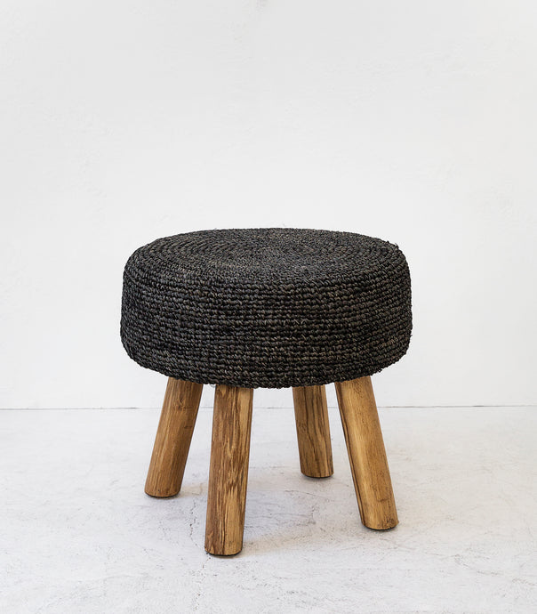 Woven Stool / Black / 50cmD