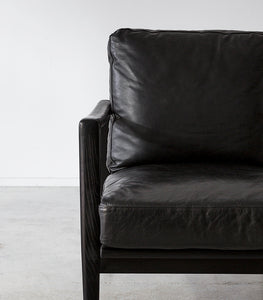 'Aman' Leather-Wood Lounging Chair/ Black