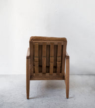 'Aman' Leather-Wood Lounging Chair / Tan-Natural