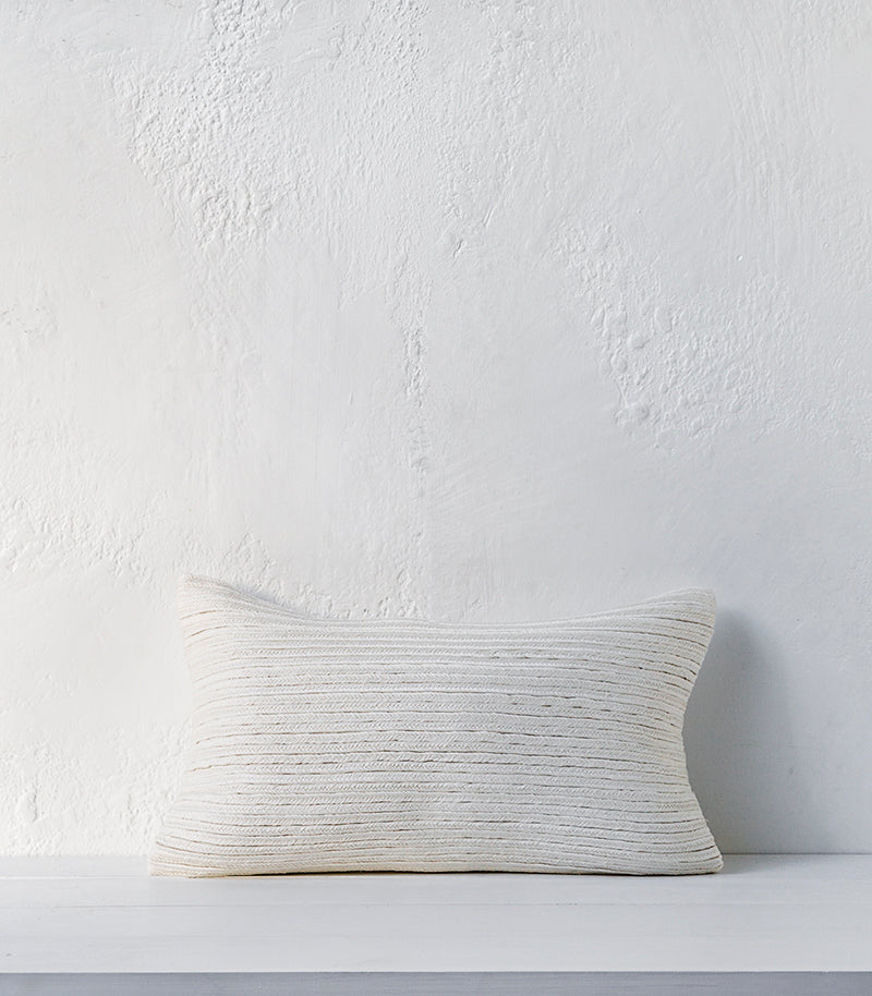 Anaya / Hand Plaited Linen Cushion / 30x50cm / Feather Inner / White