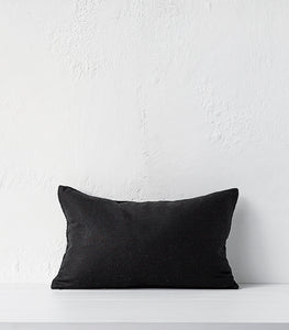 Anaya / Hand Plaited Linen Cushion / 30x50cm / Feather Inner / Black