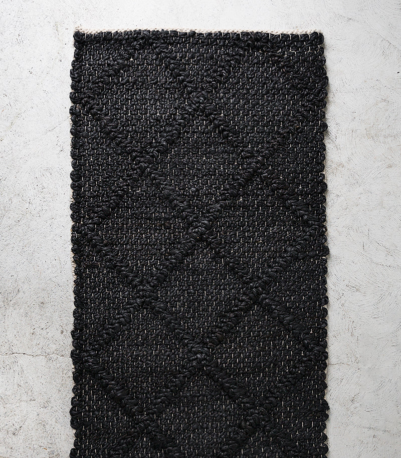 Assam Floor Rug / Handwoven Jute / Black / 50x140cm