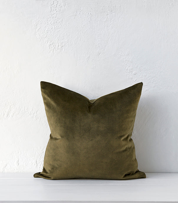 Ava Cushion w Feather Inner / 50x50cm / Moss