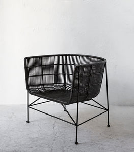 'Bahama Tub' Rattan Chair / Black