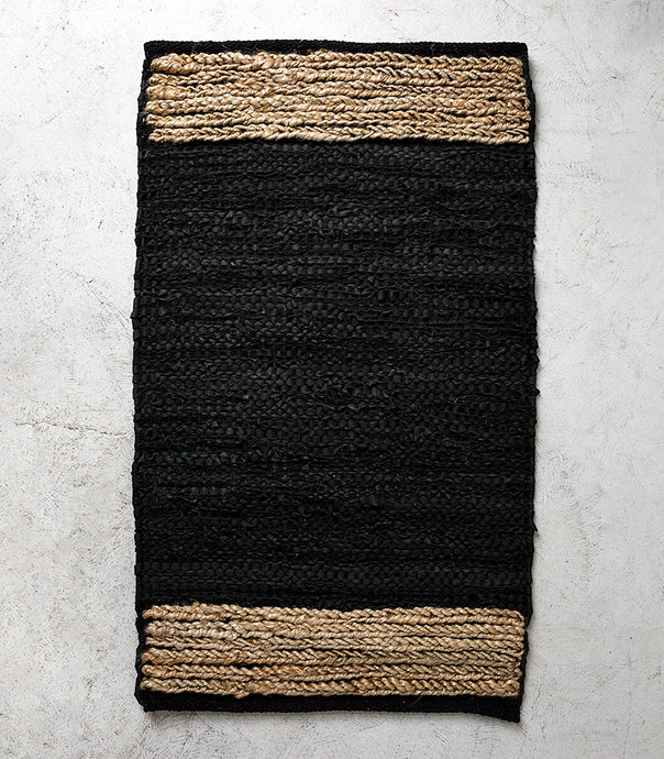 Bogota Floor Rug / Leather-Hemp / Black-Natural / 60x100cm