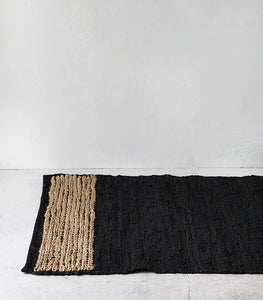 Bogota Floor Rug / Leather-Hemp / Black-Natural / 80x300cm