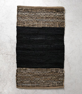 Caracus Leather Floor Rug / Black-Saddle / 60x100cm