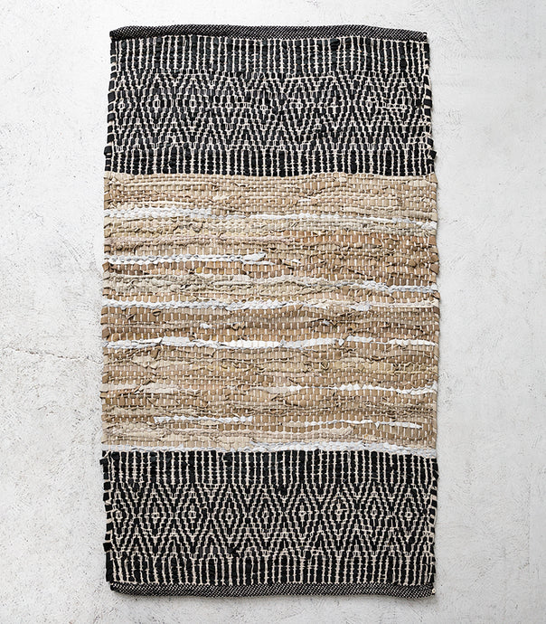 Caracus Leather Floor Rug / Sand-Black / 50x140cm