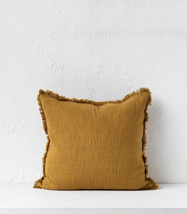 Cloth & Co / Khadi Cushion w Feather Inner / 55x55cm / Ginger
