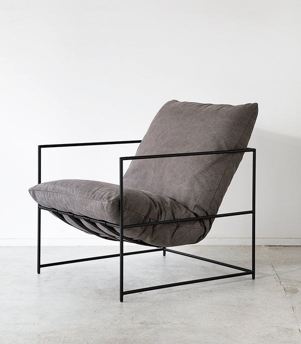 'Cloud' Lounger / Feather Filled / Washed Grey
