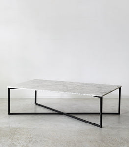 Elle Luxe Marble Rectangular Coffee Table / White