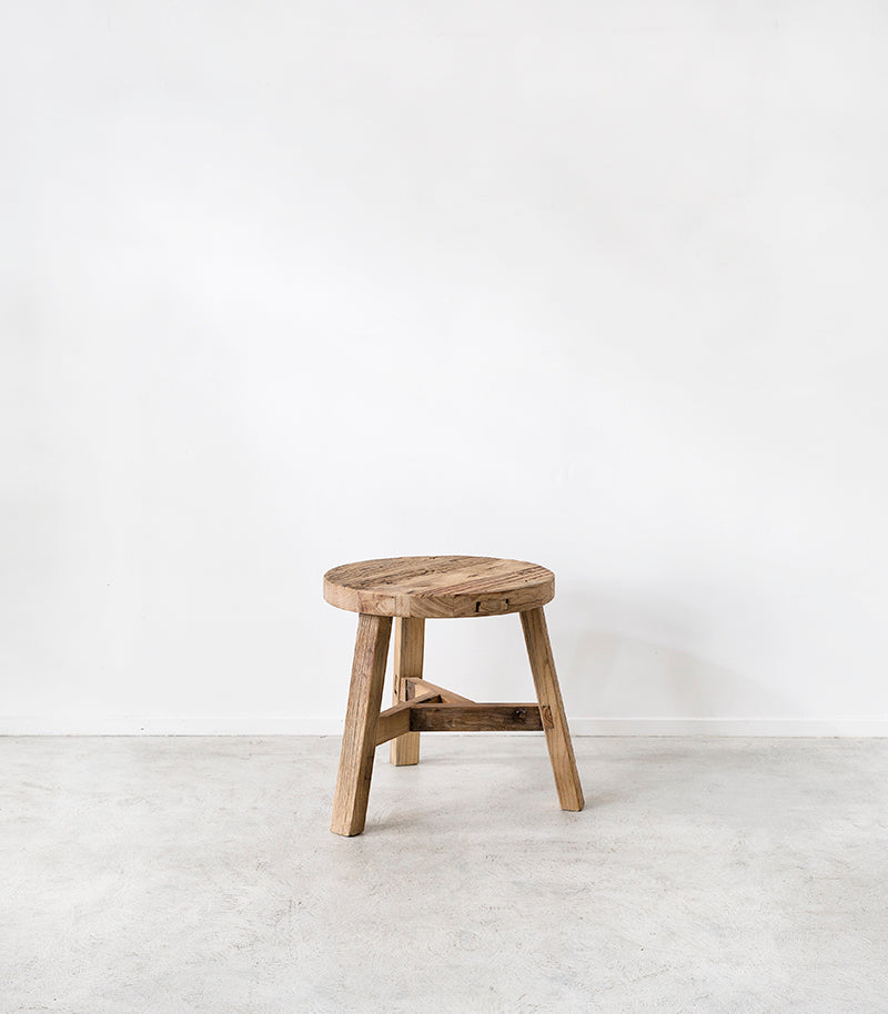 Elmwood Side Table / Tall Round / 45cmD / Natural