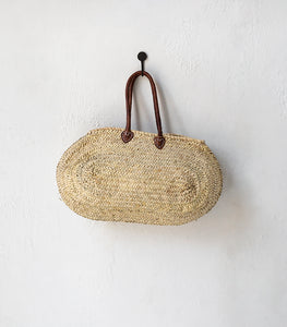 'Fez' Oval Basket w Leather Handle