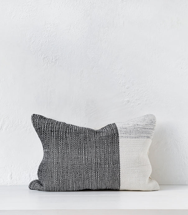 'Finn' Outdoor Polyester Cushion w Feather Inner / Ivory-Black / 40x60cm