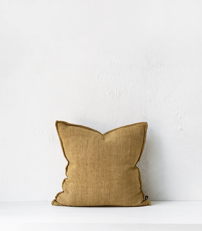 Flaxmill Cushion w Feather Inner / 50x50cm / Fenugreek