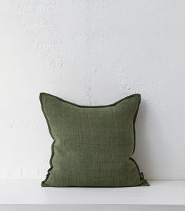 Flaxmill Cushion w Feather Inner / Olive / 50x50cm