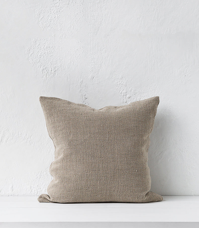 Heavy Linen Cushion / Natural w Feather Inner / 55x55cm