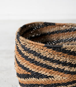 Hubsch Interior / Woven Rope Basket / Blk-Brown-Natural / Large
