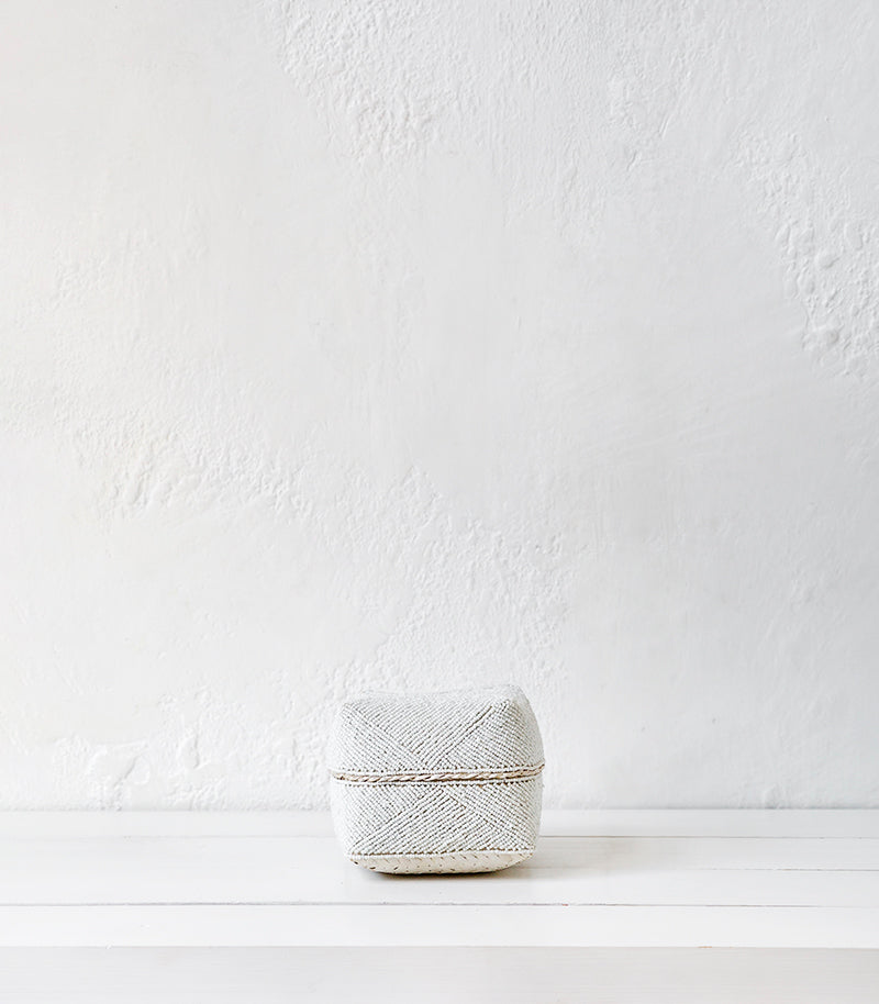 Indonesian Beaded Box / White / Small