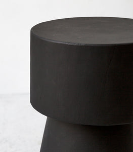 Indonesian Hardwood Stool - Side Table/ Matte Black