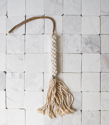 Indonesian White Shell Tassel w Jute