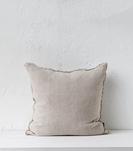 Keaton Cushion w Feather Inner / 55x55cm / Cream-Natural