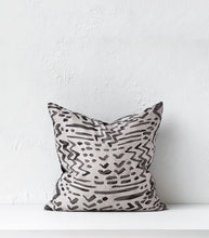 'La Luz' Grey Detail Cushion w Feather Inner / 55x55cm