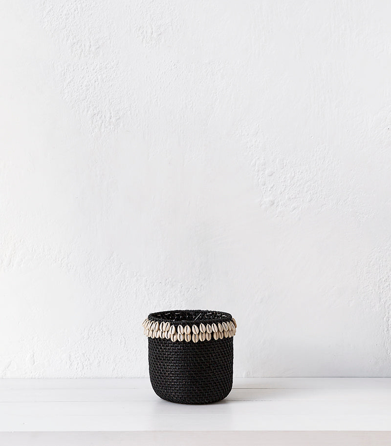 Lombok Basket w Shells / Black  / Large