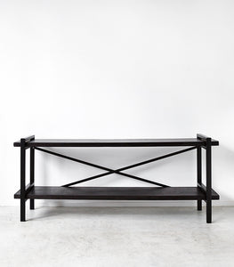 Low Loft Shelving Unit / Blackwash / 180x40.5x69cmH