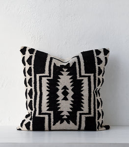 Madam Stoltz / Aztec Cushion / Black & White / 60 x 60cm