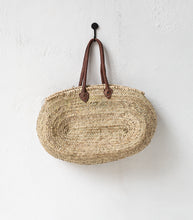 Fez Moroccan Oval Basket w Leather Handle / Large
