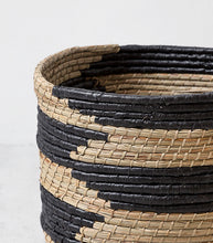 'Mykonos' Woven Basket / Black-Natural / 40cmD