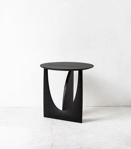 Oak Geometric Side Table / Black / 51x51x50cm