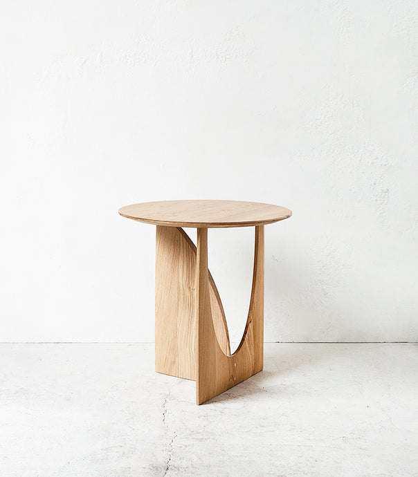 Oak Geometric Side Table / Natural / 51x51x50cm
