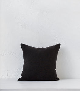'Onyx' Linen Cushion w Feather Inner / 45x45cm