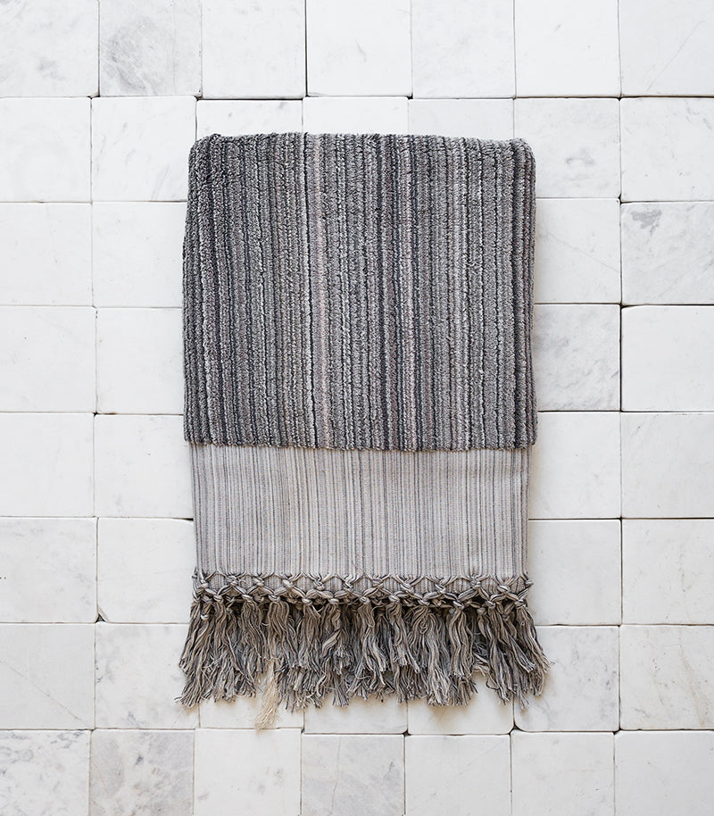 Ottoloom / Moscow Organic Bath Towel / Grey Stripe