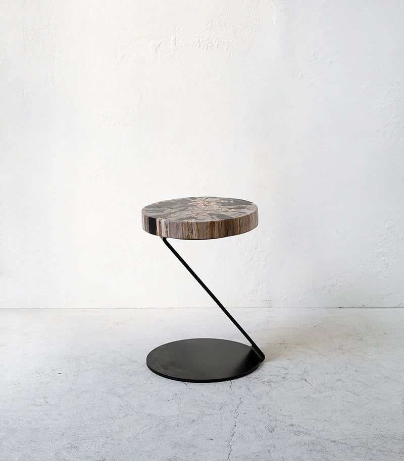 Petrified Wood Z-Frame Side Table-Stool / Round